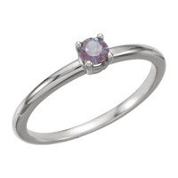 "14kt White Gold Chatham® Created Alexandrite ""June"" Birthstone Ring"