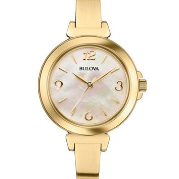Bulova Ladies Gold-Tone Bangle Style Dress Watch - Mother of Pearl Dial - 30m