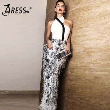 INDRESSME New Women Fashion Sexy Halter Mesh Feathers Sequin Sleeveless Long Dress Party Slit Bandage Gown Vestidos 2018