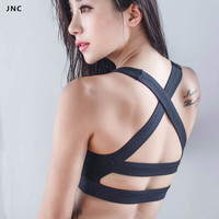JNC Collection Glamour Girl Sports Bra Wide Elastic Straps Yoga Gym Top Bra Removable Padding Workout Bra For Women Activewear