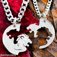 Lion and Lioness Necklace set, hand cut coin by Namecoins
