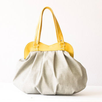 Handbag, shoulder bag, purse in grey cotton and yellow leather - Iris bag