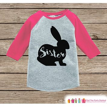 Girls Spring Outfit - Sister Bunny Shirt or Onepiece - Bunny Silhouette Family Shirts - Baby, Toddler - Girls Easter Sibling Shirts - Pink