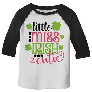 Shirts By Sarah Toddler Girl's Little Miss Irish Cutie T-Shirt ST. Patrick's Day ¾ Sleeve Raglan