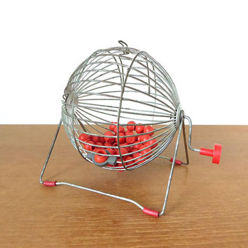Vintage wire Bingo cage, ball spinner with red bingo numbers and handle