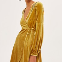 Embroideed Velvet Wrap Dress - Clothing