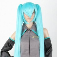 动漫 水蓝色初音 MIKU cos 假发 cosplay 假发 高温丝 _动漫中长发_Cosplay wigs_Online store providing a variety of fashion Jewelry, Clothing, Dresses at wholesale price - www.favor21.com