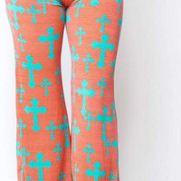 Coral cross pants