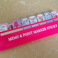 Kawaii Pink Alpaca Memo Flags