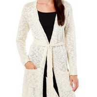 Rewind Juniors Open Knit Belted Duster Cardigan | Bealls Florida