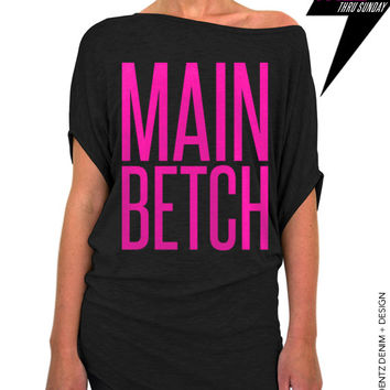 Main Betch - Squad Bridal Collection - Black with Pink Longer Length Slouchy Tee (Small - Plus Sizes)