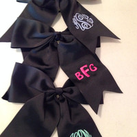 Monogrammed Cheer Bow in Black