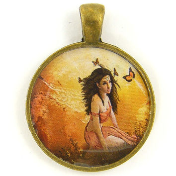 Fairy Charm with Wings Orange Gold by BeautifulByCharlene on Etsy