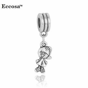 Charms For Bracelets Silver Plated Cute Girl Pendants 5PC/Lot Diy Craft s fit Pandora