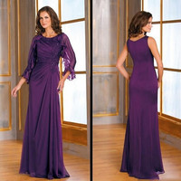 elegant purple mother of the bridal dress with jacket 2016 half sleeve chiffon long women formal evening gown for wedding party
