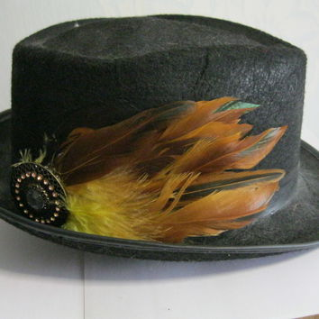 Yellow Feather Hat Pin, steampunk, hair clip, brooch, fascinator, mens, wedding