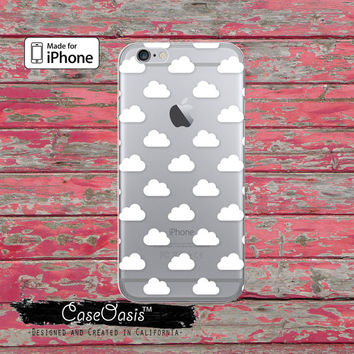 White Cloud Shape Pattern Tumblr Inspired Clear Case iPhone 6 iPhone 6s iPhone 6s Plus iPhone 5/5s iPhone 5c iPhone SE iPhone 7 Plus Case