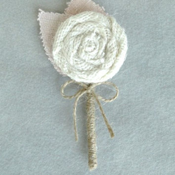 Rustic Burlap Boutonniere Ivory and Blush Pink Burlap Leaves Country Barn Wedding Ready To Ship