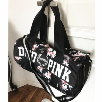 Victoria pink sports fitness yoga package hold-all duffel bag Black(white flower)