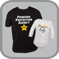Matching Dad and Daughter shirt and one piece, new dad shirt, princess Onesuit (R), customized baby girl bodysuit, princess protection agency