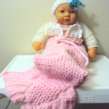 Crochet Baby Mermaid Tail Costume - New Born  to 6 Months - Photo Prop - Baby Cocoon Baby Outfit Set Baby Shower Gift Ideas
