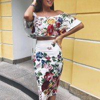 Two piece set floral print off shoulder cropped top and skirt set Summer off shoulder crop tops bodycon midi skirts suits