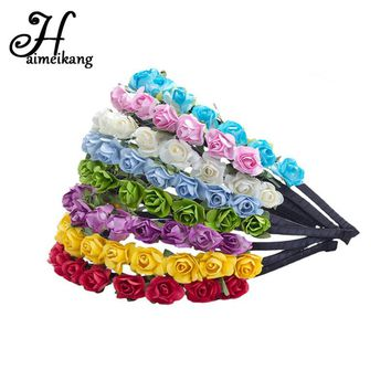 haimeikang Girls hairband Hair Hoop Paper Rose Flower Crown Festival Hair bands Headwear Wedding Garland Floral Hair Accessories