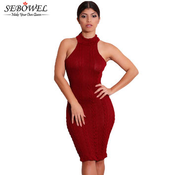 s Cold Shoulder Turtleneck Sweater Dress Sleeveless Tank Knitted Dress  Casual Dress Bodycon SM6