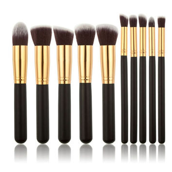 10Pcs Pro Makeup Blush Eyeshadow Blending Set Concealer Cosmetic Make Up Brushes Tool Eyeliner Lip Brushes + Free Shipping