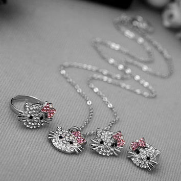 Crystal Studded Silver Cat Jewelry Set