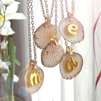 Seashell initial necklace, personalized monogram necklace, custom summer boho necklace, sea shell nature jewelry
