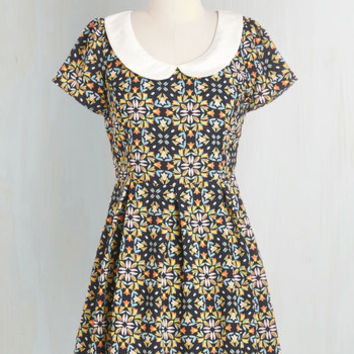 Short Length Short Sleeves A-line Kaleidoscope to See You Dress