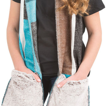 """Brown & Turquoise - 71"""" Brushed Acrylic Faux Fur Pocket Scarf"""