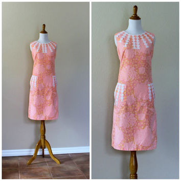 Vintage 60s The Lilly Shift Dress Pink Floral Cotton // Lilly Pulitzer Day Dress// Pink Summer Resort Dress// Floral Sundress// Large