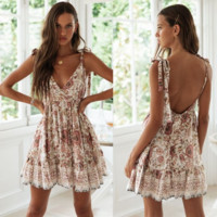 Fashionable sexy deep v-back beach holiday print dress