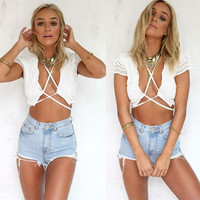 Women's Bustier Lace Up Bra Camisole Crop Top Shirt