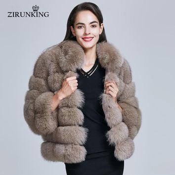 ZIRUNKING Stand Collar Real Fur Coat Women Winter Natural Fox Fur Jackets Outerwear Female Thick Fox Outerwear Clothing ZC1732