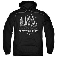 GOSSIP GIRL/NYC-ADULT PULL-OVER HOODIE-BLACK