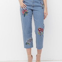 RUUMI EMBROIDERED CROPPED DENIM JEANS