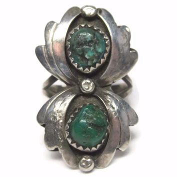 Vintage Navajo Sterling Green Turquoise Spider Ring Size 5