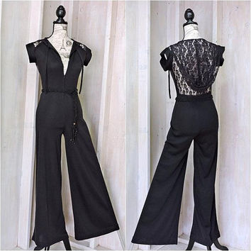 Vintage 70s Jumpsuit / size S   / Roberta California / Black lace jumpsuit / one piece / bell pants