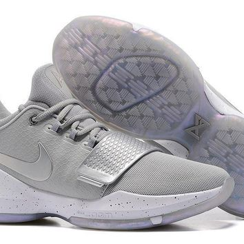 Tagre™ Nike Zoom Paul George PG 1 Silver / Gray Basketball Shoes