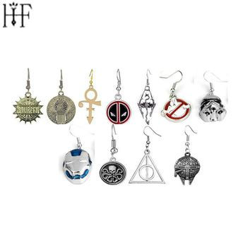 Deadpool Dead pool Taco Fashion Long Earrings Jewelry Star Wars  Doctor Who Iron man Deathly Hallows Elder Scrolls Dragon  Earrings For Girl AT_70_6