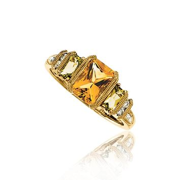 Citrine, Peridot & 1/8 Ctw Diamond 14K Yellow Gold Granulated Ring