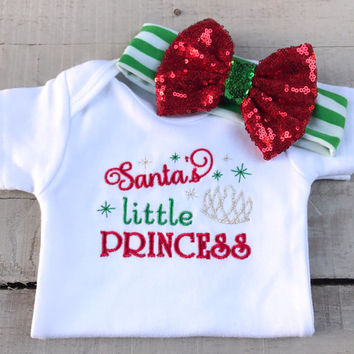 Christmas Onesuit, Christmas Baby, Santa's Little Princess, baby girl embroidered Onesuit 3 piece outfit