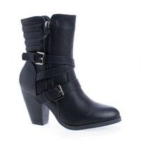 Outcast02 Black Pu By Nature Breeze, Western Cowgirl Stacked Faux Wooden Block Heel Ankle Boots