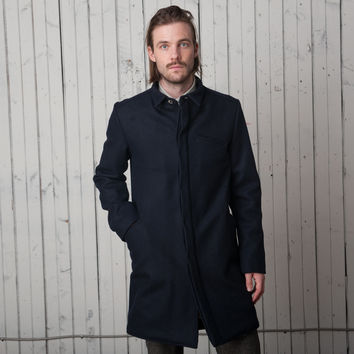 The Tribeca Trench   Navy Wool