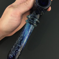 Large Cobalt Glass Silver Fumed Starry Night Tobacco Space Hammer Pipe with Encased Trillion Fire Opal