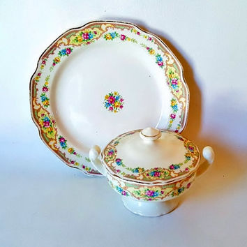 Vintage Serving Pieces Floral China Covered Sugar Bowl Under Plate Mix Match Floral China Mildred Pattern Cottage Chic Kitchen Decor