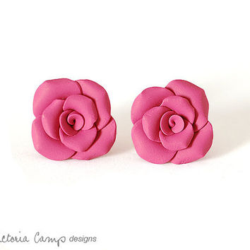 Pink Magenta Rose Earrings on Sterling Silver Posts, Clay Roses - Ready to Ship